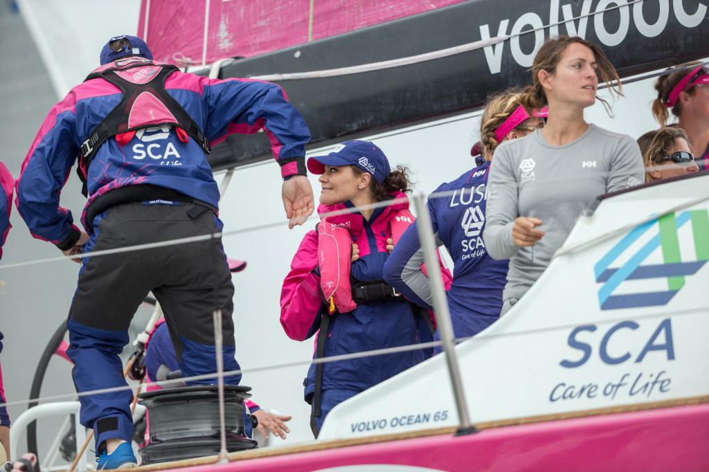 Rootsi printsess Victoria nautimas võistlust SCA pardal. Credit: Victor Fraile / Volvo Ocean Race
