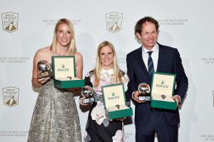 Rolex Aasta Purjetajad - britid Hannah Mills ja Saskia Clark ning argentiinlane Santiago Lange.  Foto: World Sailing